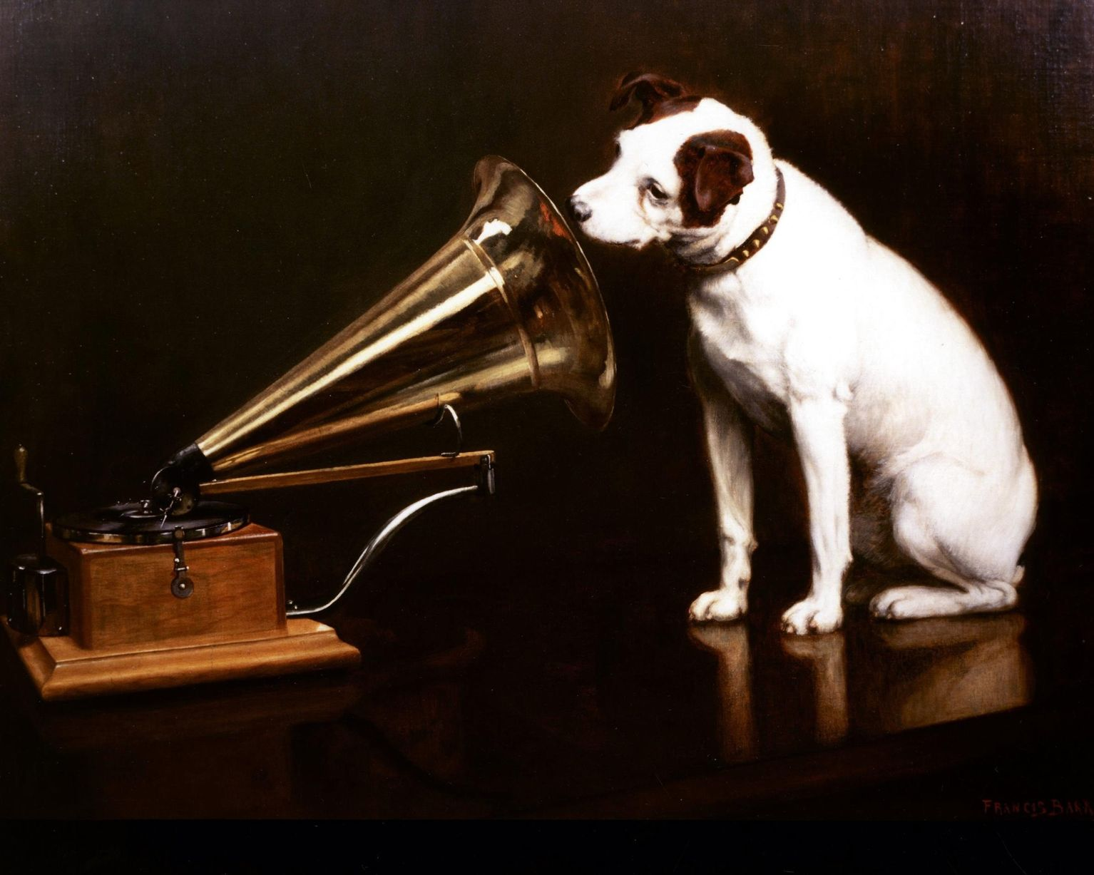 HIS MASTER'S VOICE (1919) by the artist Francis Barraud (1856 - 1924) Image courtesy of the EMI Group Archive Trust. © HMV is a recognised trademark hmv.com