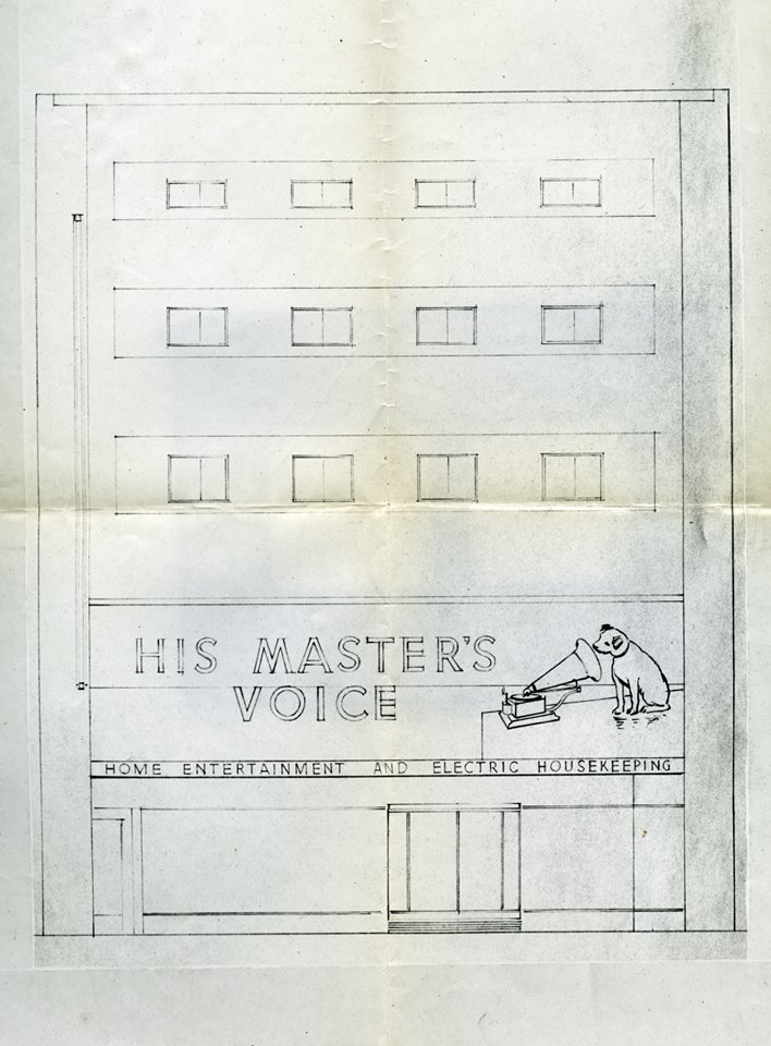 HMV store front plans from the EMI Archive Trust collection