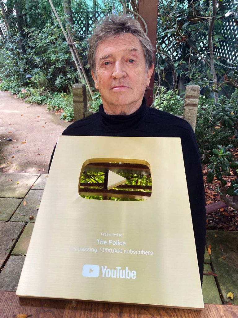 Andy Summers with The Police's 1M YouTube Subscribers Award